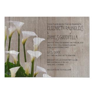 Rustic Calla Lillies Wedding Invitations