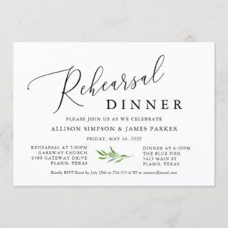 Rustic Calligraphy Greenery Rehearsal Dinner Invitation