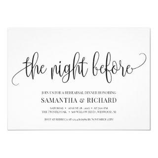 Rustic calligraphy the night before rehearsal invitation