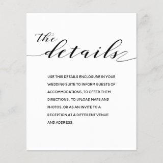 Rustic Calligraphy Wedding Details Enclosure Card