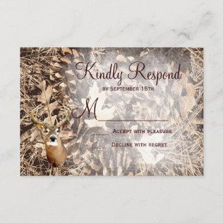 Rustic Camo Hunting Deer Antlers Wedding RSVP