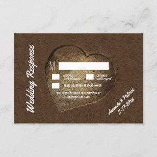 Rustic Carved Tree Slice Wedding RSVP Cards