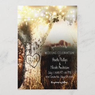 Rustic Carved Tree & String Lights Country Wedding Invitation