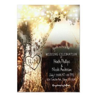 Rustic Carved Tree & String Lights Country Wedding Invitations