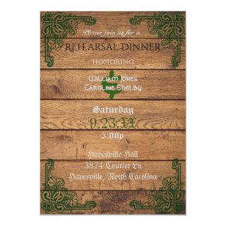 Rustic Celtic Claddagh Rehearsal Dinner Invitations
