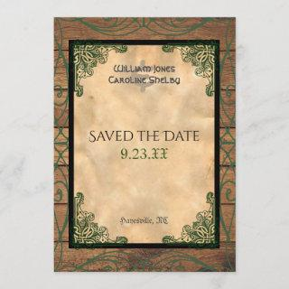 Rustic Celtic Claddagh Save the Date Invitations