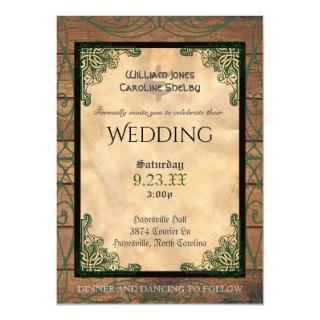 Rustic Celtic Claddagh Wedding Invitations