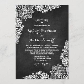 Rustic Chalkboard Floral Lace Wedding Invitations