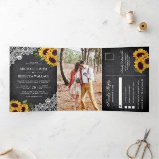Rustic Chalkboard Lace Sunflower Wedding Photo Tri-Fold Invitations