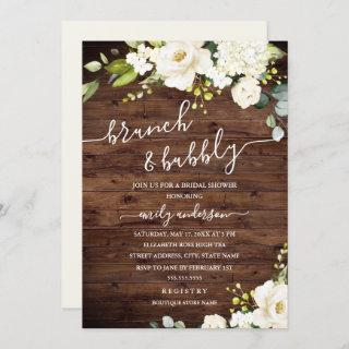 Rustic Champagne Floral Brunch And Bubbly Invitations