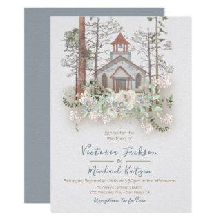 Rustic Chapel in the Woods Wedding invitations