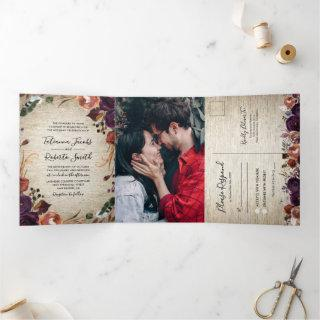 Rustic Chateau Floral All in One Wedding Tri-Fold Invitations