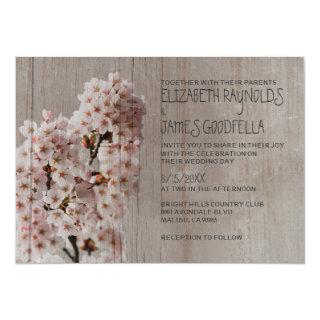 Rustic Cherry Blossom Wedding Invitations