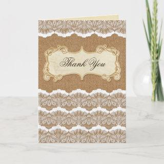 Rustic Chic burlap and lace country wedding Thank You Card