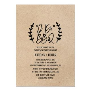 Rustic Chic Faux Kraft Calligraphy I Do BBQ Invitation