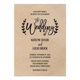 Rustic Chic Faux Kraft Calligraphy Wedding Invitations