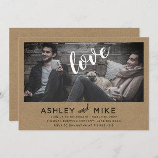 Rustic Chic Kraft Photo Engagement Party Invite