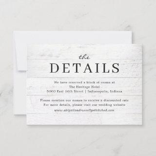 Rustic Chic Modern Wedding Details Card