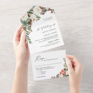 Rustic Chic Winter Floral Pine Berries Wedding All In One