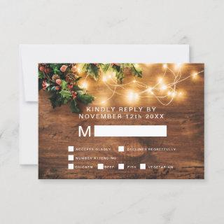 Rustic Christmas country mistletoe rsvp wedding