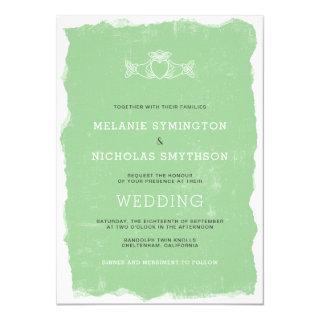 Rustic Claddagh Irish wedding invite, 3991 Invitation