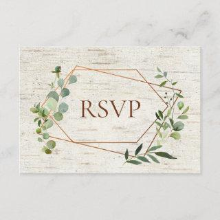 Rustic Copper Geometric Eucalyptus Birch Meal RSVP Invitation