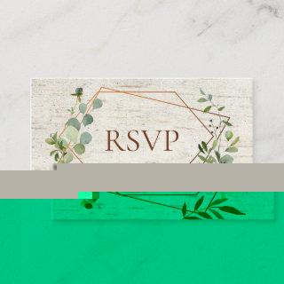 Rustic Copper Geometric Eucalyptus Birch RSVP Enclosure Card