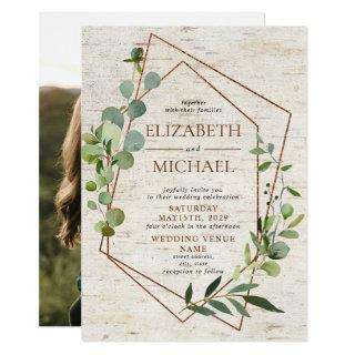 Rustic Copper Geometric Eucalyptus Elegant Photo Invitation
