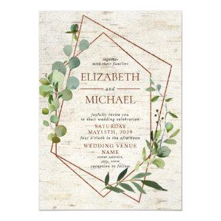 Rustic Copper Geometric Greenery Elegant Wedding Invitation