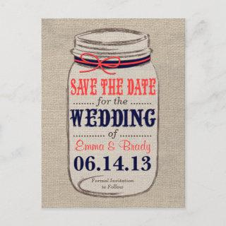 Rustic Coral & Navy Mason Jar Save the Date Announcement Postcard
