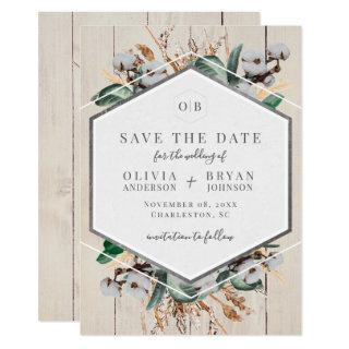 Rustic Cotton and Greenery Save the Date Invitations