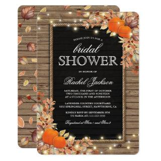 Rustic Country Autumn Fall Bridal Shower Invitations