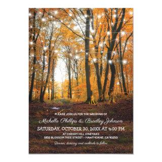 Rustic Country Autumn Fall Woodland Wedding Invitations