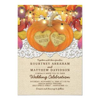 Rustic Country Autumn Pumpkin Lace Wedding Invitations