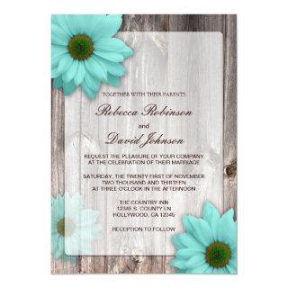 Rustic Country Barn with Teal Blue Daisies Wedding Invitations