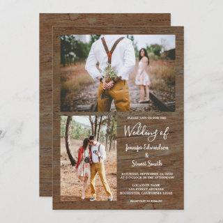 Rustic country barn wood photo collage wedding invitation