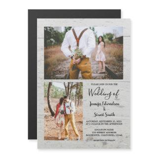 Rustic country barn wood photo collage wedding magnetic invitation