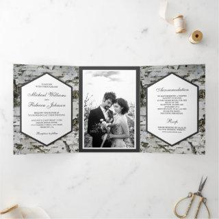 Rustic Country Birch Tree Bark Photo Wedding Tri-Fold Invitations