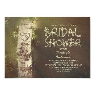 Rustic country birch tree bridal shower invitation