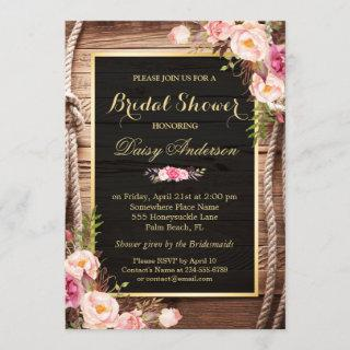 Rustic Country Bridal Shower Wood Knot Floral Wrap