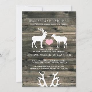 Rustic Country Buck and Doe Wedding Invitations