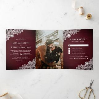 Rustic Country Burgundy Wood Lace Wedding Photo Tri-Fold Invitations