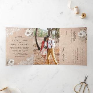 Rustic Country Burlap Lace Ivory Floral Wedding Tri-Fold Invitation