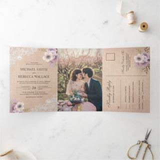 Rustic Country Burlap Lace Pink Floral Wedding Tri-Fold Invitations