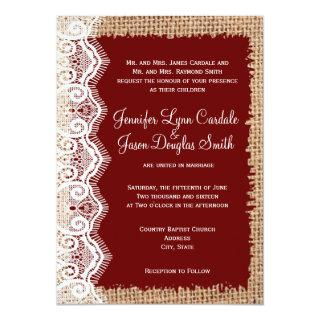 Rustic Country Burlap Lace Red Wedding Invitations