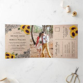 Rustic Country Burlap Lace Sunflower Wedding Photo Tri-Fold Invitations