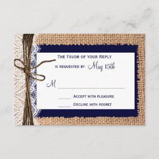 Rustic Country Burlap Lace Twine Wedding RSVP