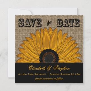 Rustic Country Burlap Look Sunflower Save the Date
