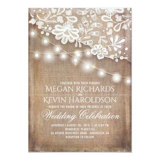 Rustic Country Burlap String Lights Lace Wedding Invitations