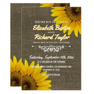 Rustic Country Burlap Sunflowers Floral Wedding Invitations
